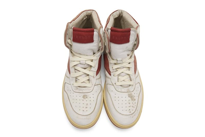 RHUDE Retro Bball-Hi Sneakers White Red Release Info Date Pricing Buy Rhuigi rhuigi villasenor Distressed