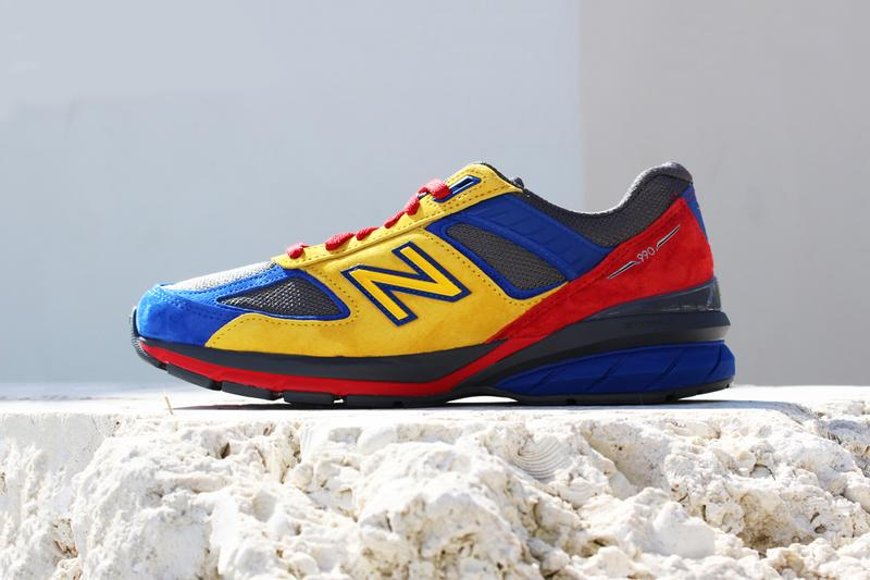 shoe city eat new balance 990v5 grey blue red yellow release info photos price