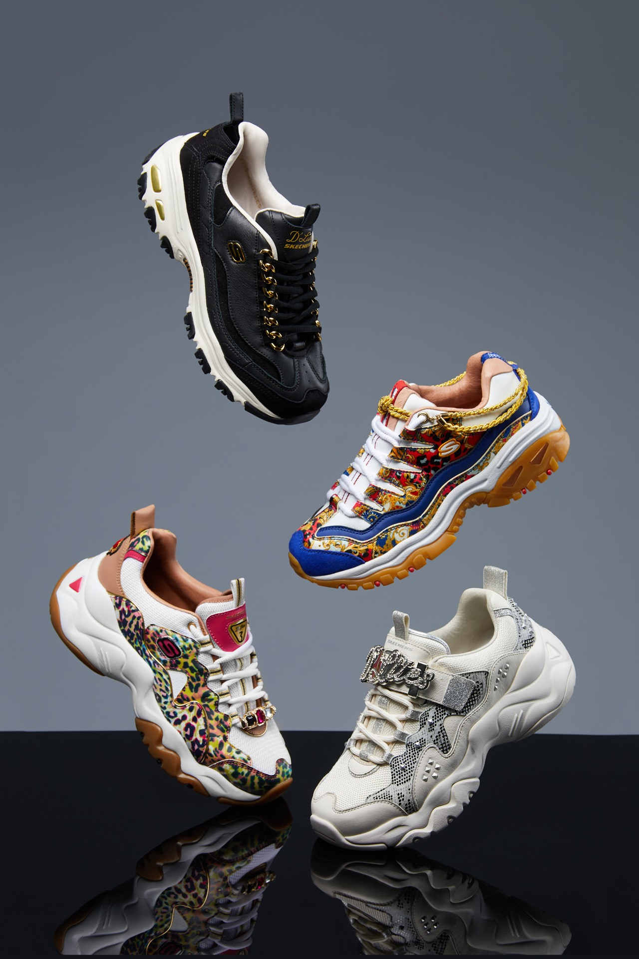Skechers Luxury Material Limited Edition Collection Heritage premium quality Skechers D'Lites Skechers D'Lites 3.0 Skechers Energy Flashy Stud Cheetah Queen Golden Idea Captains View iconic designs classic silhouettes