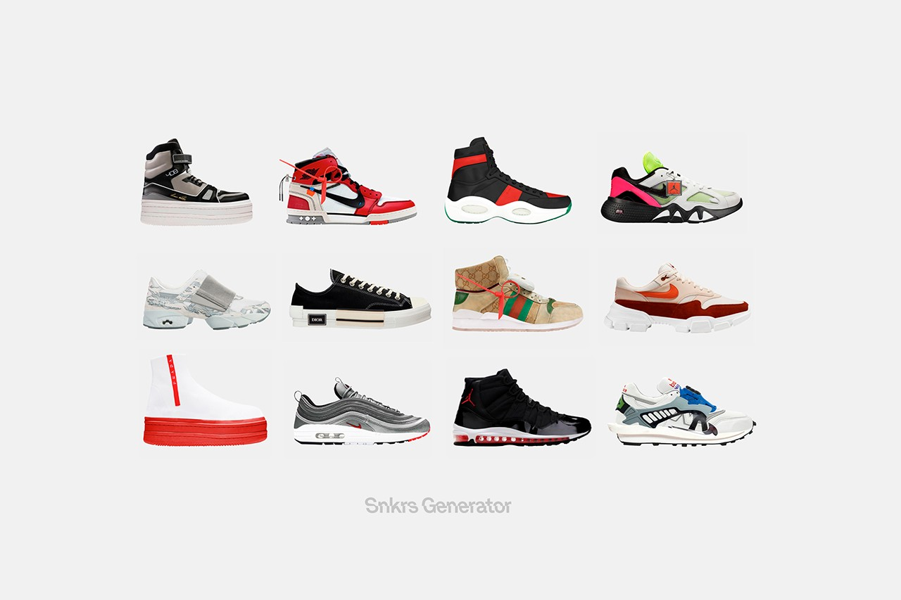 Sneakers Generator App Custom Silhouettes Info nike adidas off-white jordan gucci customization material color accessories design details nss factory deconstruction digital technology