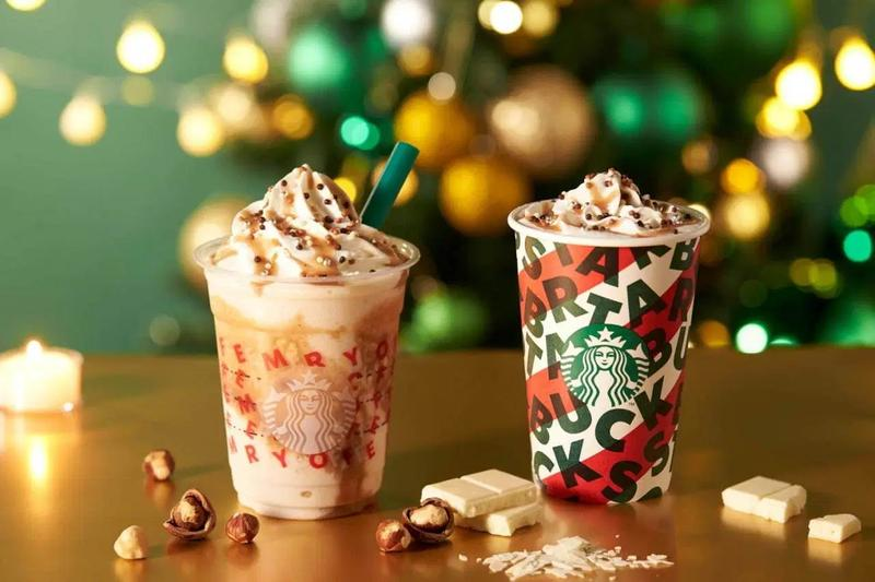 Starbucks Japan Nutty White Chocolate Frappuccino Christmas holiday season festive lights trees dragees mocha hazelnut sauce milk whipped cream coffee chain swirl beverage