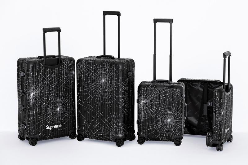 Supreme x RIMOWA Spring 2019 Custom Suitcases aluminum bodies black anodized spiderweb monogram print