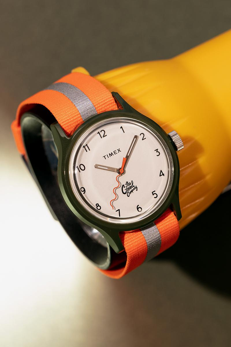 The Good Company x Timex MK1 02 Olive Case Strap Ivory Face Orange Wristband Brass Hour Minute Hand Glow in the Dark Watch Timepiece Wave Logo
