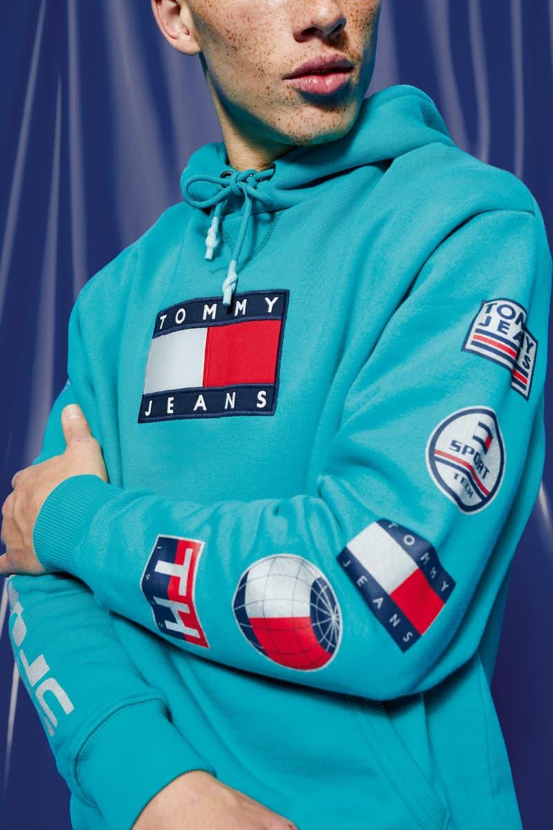 Tommy Hilfiger Tommy Jeans Sport Tech Denim Capsule Collection Sport Sweatpants Tech Hoodies T-shirts Navy Purple Aqua Blue Flag Fanny Packs Beanies Polar Fleece