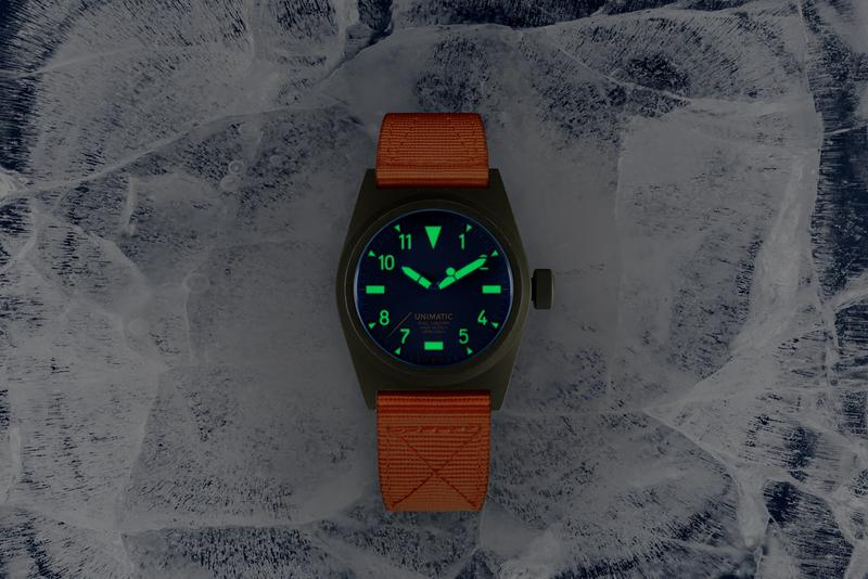 Nigel Cabourn x Unimatic U2-NC Watch Release Olive Navy Blue Safety Orange Commonwealth Trans-Antarctic Expedition