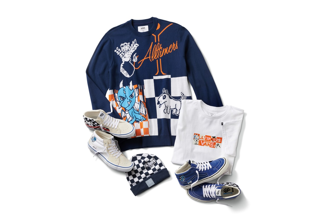 Alltimers x Vans Holiday 2019 Collection Sk8-Mid Pro LTD Cartoon Caricatures Blue Dragon Dog Martini Glass Checkerboard Jacquard Sweater Knit T-shirt Beanie Yellow Orange White Black