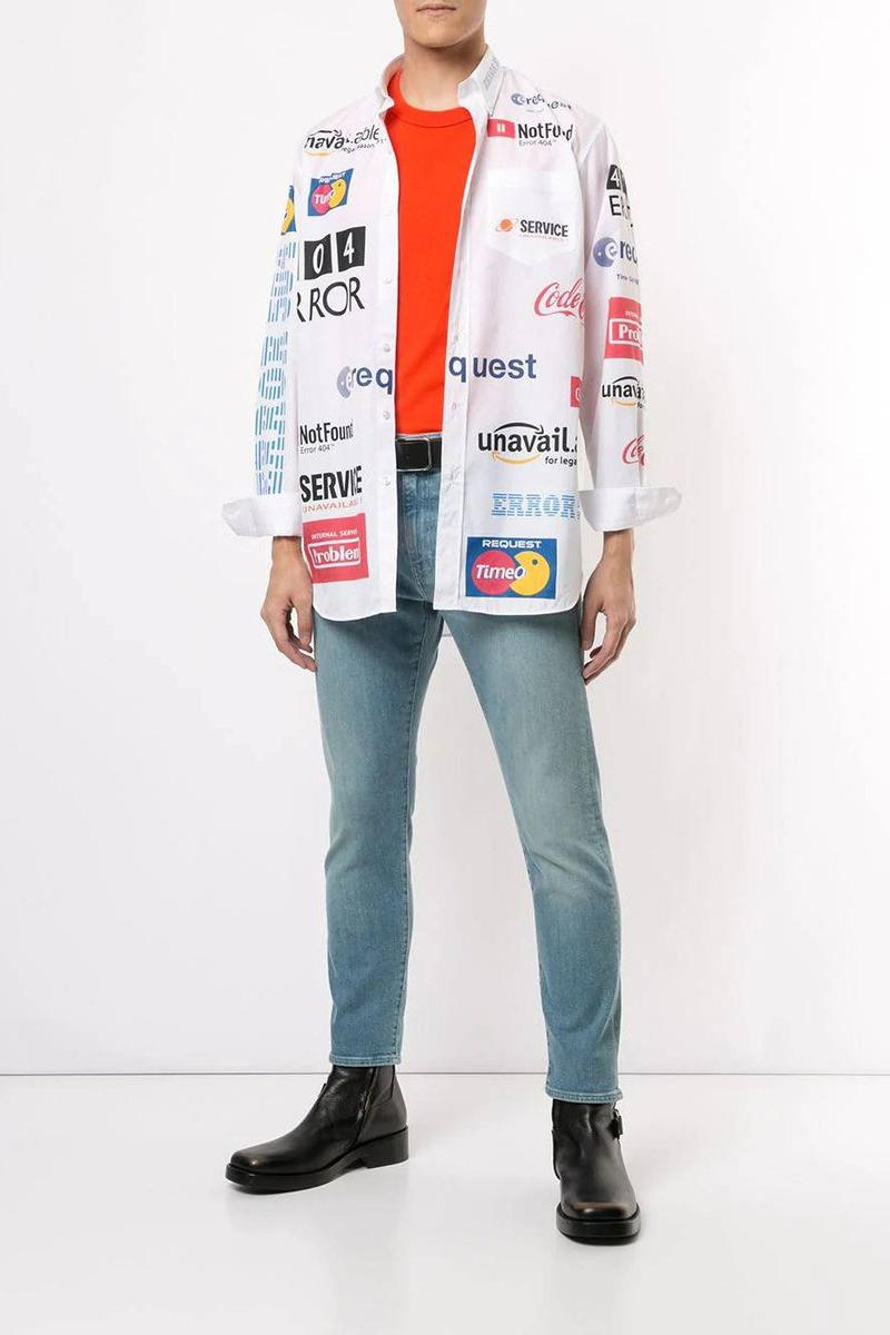"""Vetements Multicolored """"Error Message"""" Logo Shirt White Collared """"Not Found"""" """"Unavailable"""""""