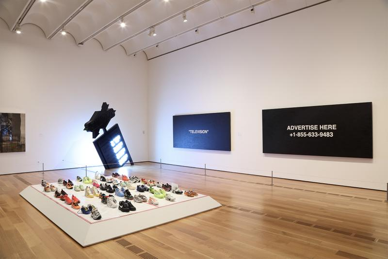 "Virgil Abloh ""Figures of Speech"" Atlanta Exhibition Recap images inside look high museum of art FOS louis vuitton nike collaborations paintings artworks sculptures installations off-white"