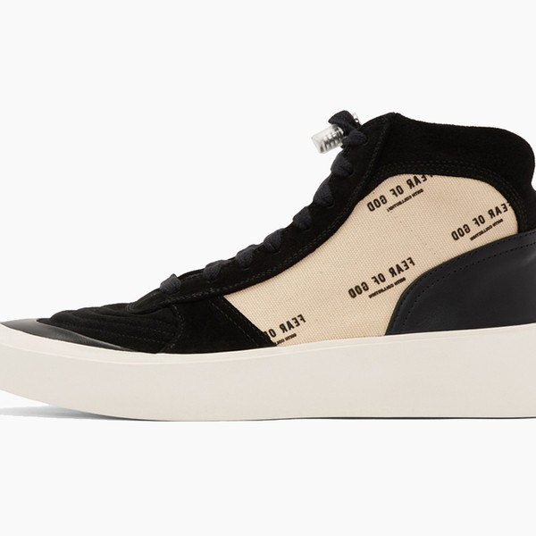 Fear of God Black Mid-top Suede and Buffed Leather Sneakers
