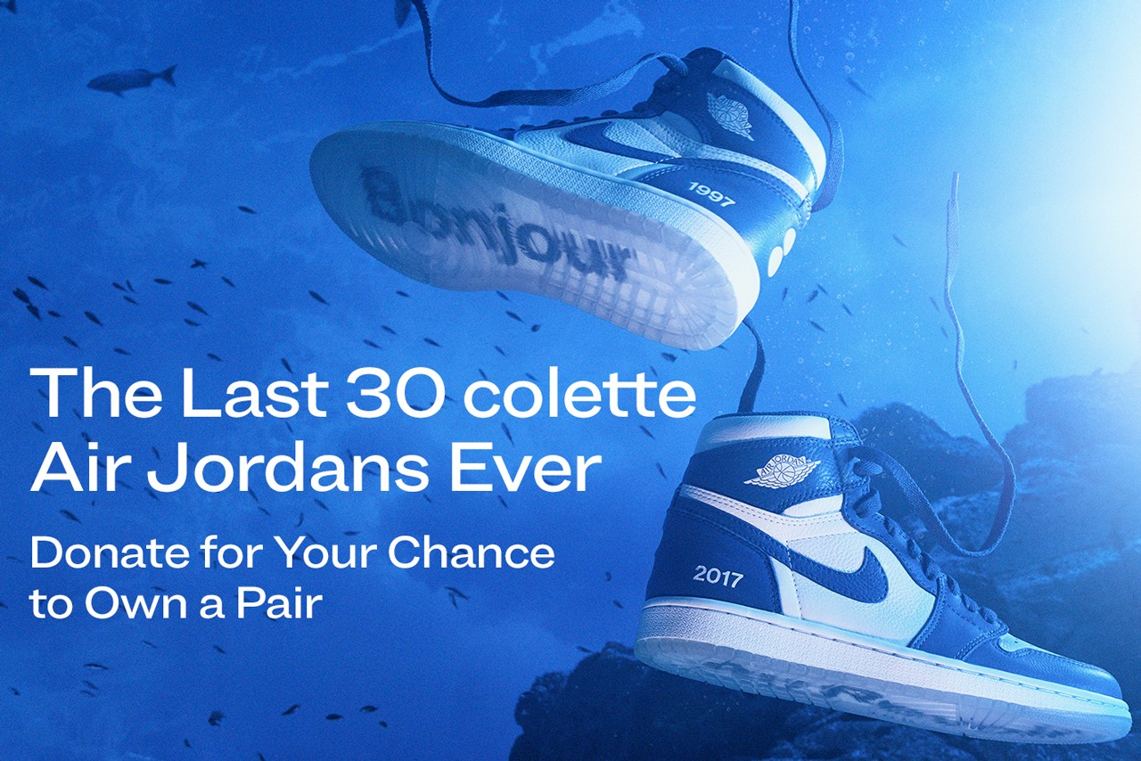 Donate for the Air Jordan 1 Colette Blue Bonjour Au Revoiur 1997 2017 Oceana two-dot logo icy blue blue and pearly white coated over the lateral ankle collar and midsole hello farewell