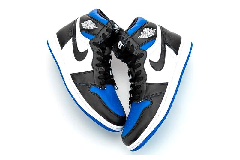 Air Jordan 1 High OG Game Royal First Look 555088-041 On-foot Release Info Date Black Blue White Hiroshi Fujiwara fragment design Black Toe