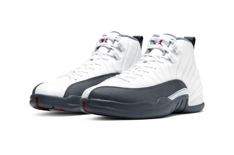 Air Jordan 12 White Dark Gray brand michael jordan 23 basketball shoes sneakers footwear runners trainers kicks tinker hatfield jumpman nike leather high top swoosh check sports