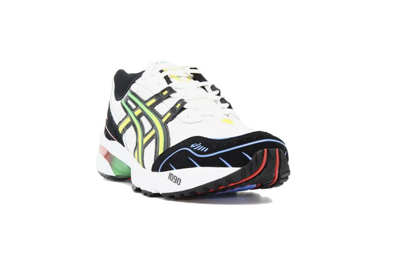 ASICS GEL 1090 White sneakers shoes runners trainers running kicks footwear EVA Japanese fluorescent side stripes 1021A283 100 sportstyle Low Cut colorful bright lime green red blue