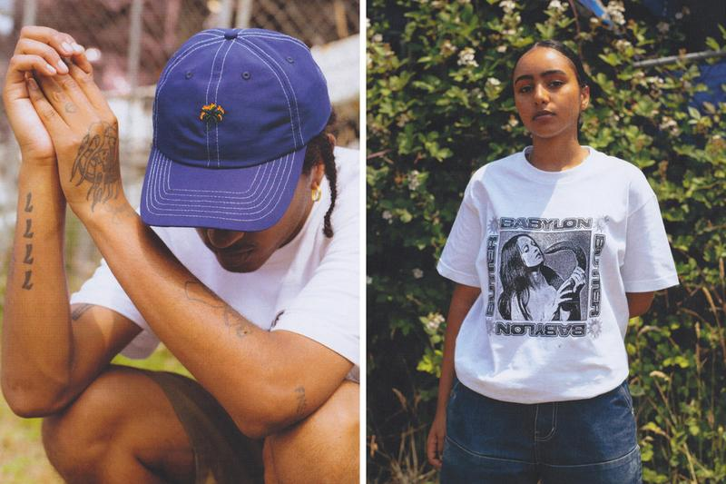 """Butter Goods x Babylon LA Lookbook Collection Collaboration Crewnecks T-shirts Shorts Python Woman Eye """"How do you face up to what's going on today?"""" Black White Yellow Peace Sign Angel Baby"""