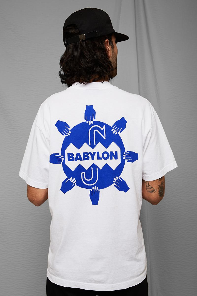 Babylon LA Drop Two Winter 2019 Collection Lee Spielman Garrett Stevenson drop lookbooks graphic t shirts sweaters hoodies bomber jacket quilted plaid los angeles skateboarding