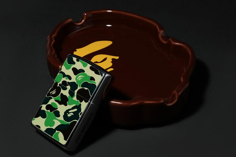 BAPE Camo Umbrella, Zippo Lighter & Ashtray a bathing ape holiday gifts christmas accessories ape head 1st camo green yellow amb