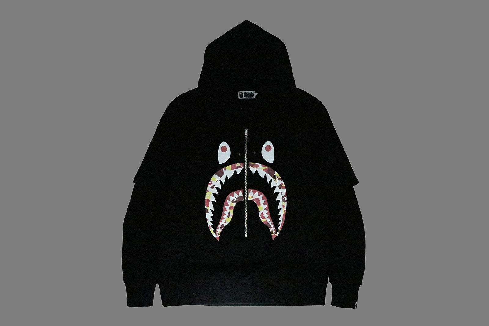 BAPE China 9th Anniversary Capsule a bathing ape shark hoodies red yellow abc camo print ape head bags accessories