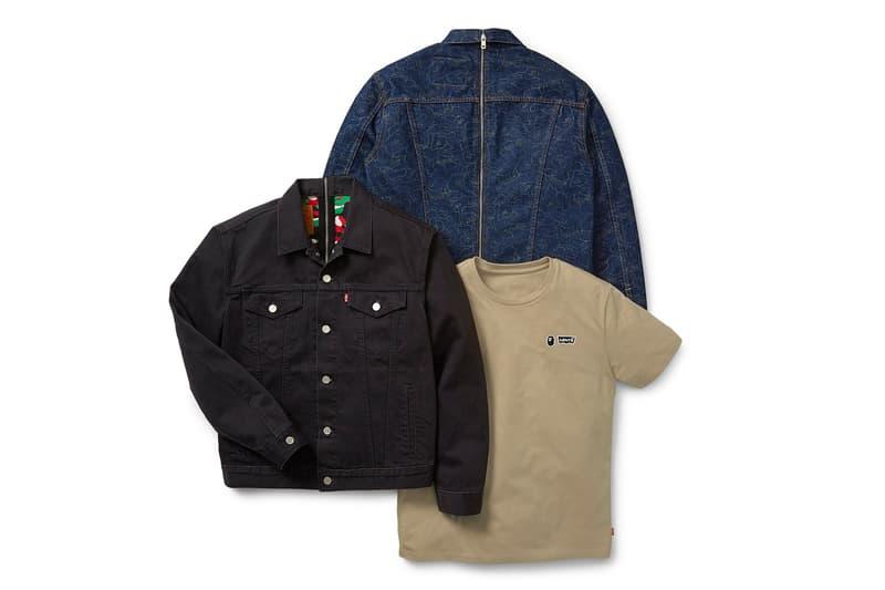 Levi's x BAPE Fall/Winter 2019 Capsule release information Levi's® Type III Trucker Jacket t-shirt exclusive a bathing ape Split Trucker Jacket t-shirts co-branding abc 1st camo print Dubai