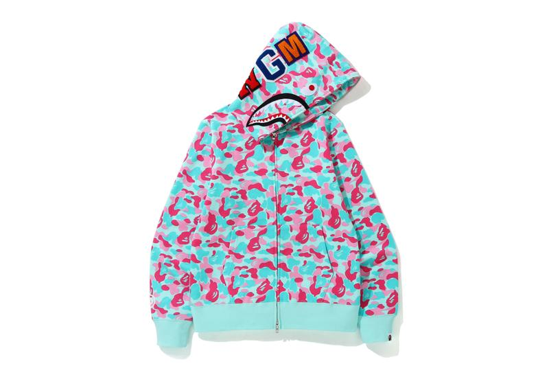 BAPE Exclusive Miami Store Collection a bathing ape lookbooks Miami design district baby milo heat pink blue teal shark hoodies bags accessories stickers iphone cases