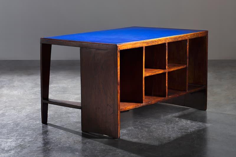 Berluti x Pierre Jeanneret Furniture Art Basel 2019 Kris Van Assche François Laffanour Galerie Downtown Day Bed Cinema Chairs Desk Folding Screen Purple Red Brown Blue Green Orange