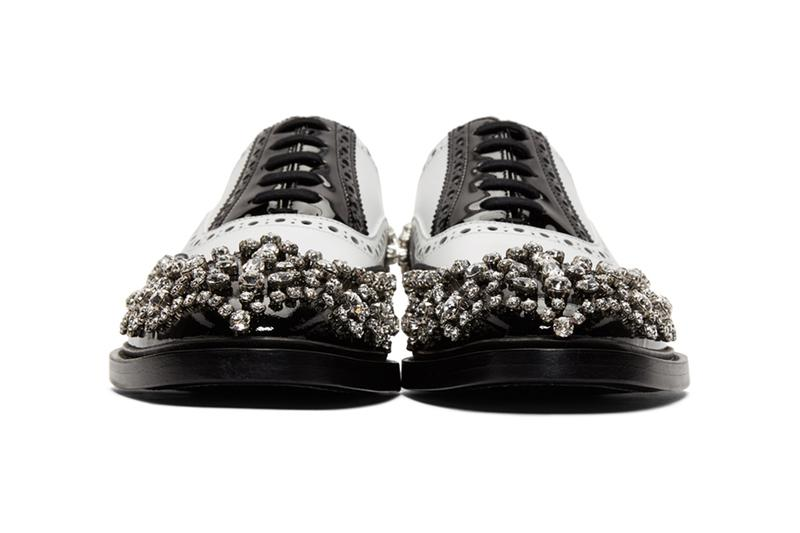 Burberry Lennard Cry Crystal Brogue Shoes for SSENSE exclusive leather patent fall winter 2019 white black derby studded
