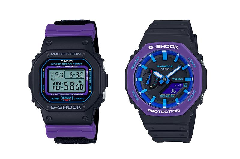 Casio G-Shock Grape DW-5600THS and GA-2100THS Release watches tech timekeeping grape black blue rubber sports watch digital