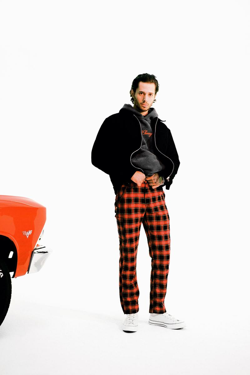 cherry los angeles winter 2019 collection lookbook images release made in america usa american manufacturing plaid flannel shirt jacket sweatpants graphic tshirts tees power atelier hoodies classic beanie