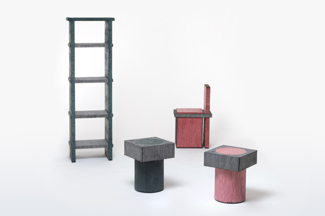 Chiho Cheon 'Criteria 2019' Furniture Series Stools Chairs Tables Shelves Purple Blue Red Black Gray Corrugated Cardboard Concrete