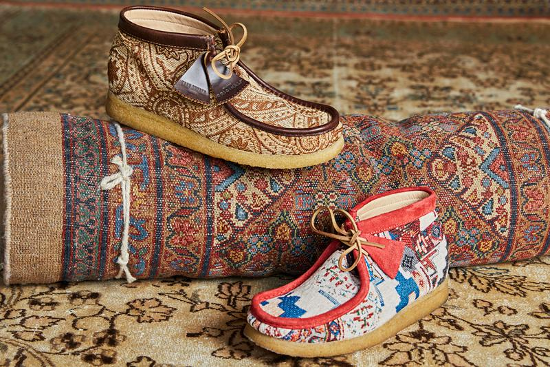 Todd Snyder Clarks Wallabee Boot Release Textile Rug Brown Leather Red Blue