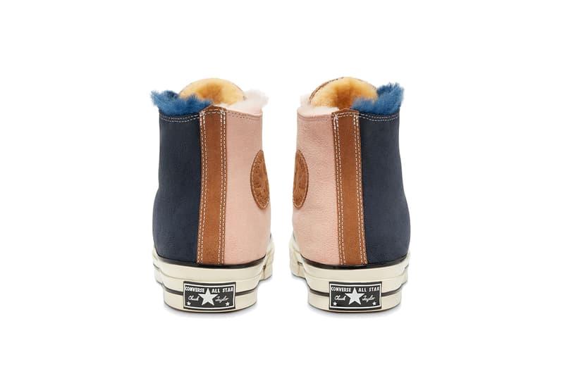 "Converse Chuck '70 Hi ""Navy Blue/Baby Pink"" Shearling Suede Multi Colored Sherpa Lining Duotone Two Tone Cozy Season Footwear Sneaker Release Information Winter 2019 Kicks  166319c All Star"