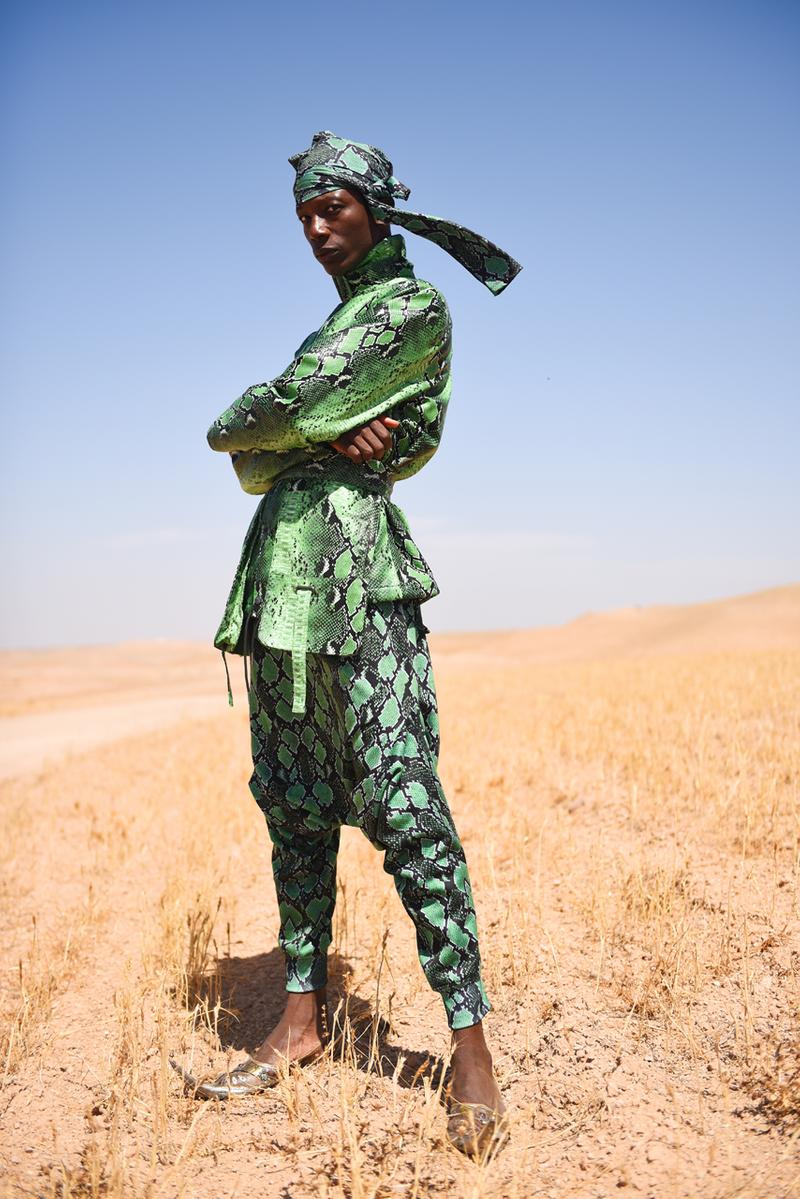 Daily Paper Fall/Winter 2019 Editorial Mouse Lamrabat Afrofuturism Reflective Puffer Coats Green Blue Snakeskin Morocco Desert