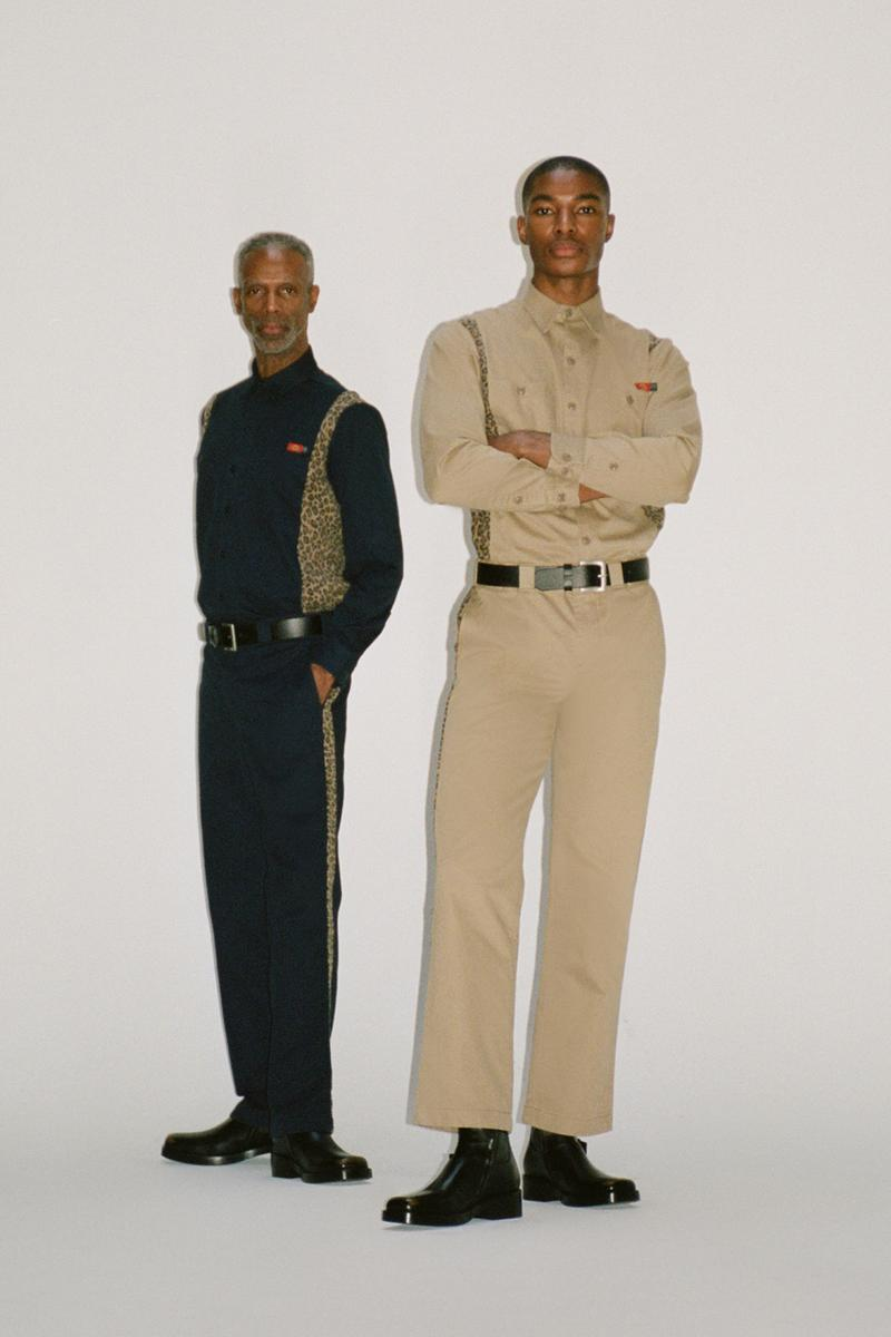 Opening Ceremony x Dickies 1922 Fall/Winter 2019 All-Over Contrast Leopard Print Long Sleeve Uniform Shirt Work Pant Navy Beige