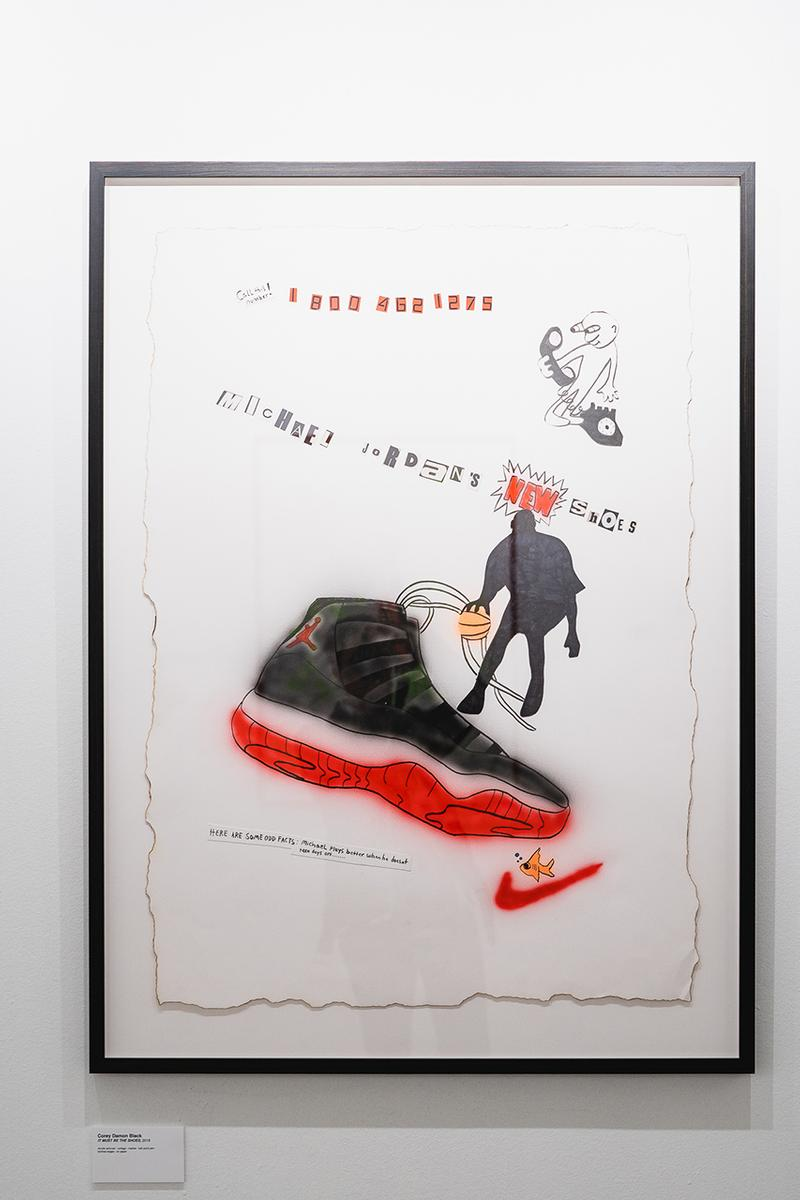 Easy Otabor Anthony Gallery Michael Jordan Show exhibition air jordan 11 bred retro release limited edition merch opening party installation chicago contemporary mixed media