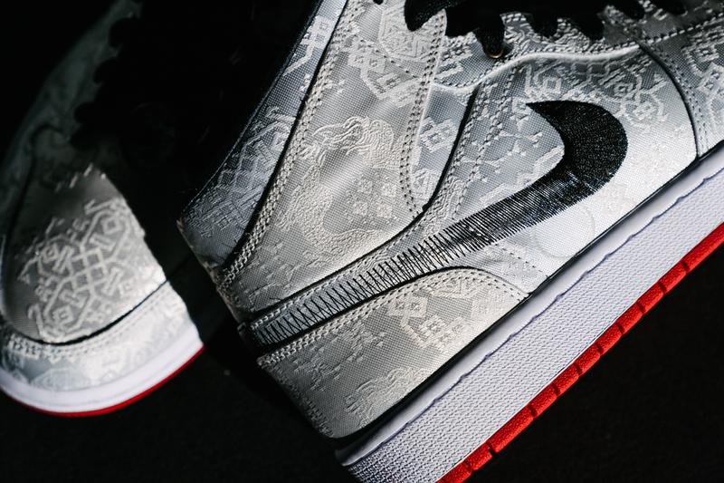 Edison Chen CLOT Jordan 1 Mid SE Fearless Collection Yin and Yang peel-off uppers internalism externalism Jordan Brand's Fearless Ones Air Jordan 1 collection tonal graphics silver woven silk fadeway stitched Swoosh black flat laces white midsole Jumpman tongue logos contrasting red rubber outsole