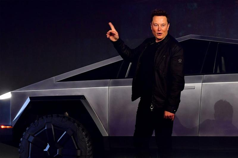 Elon Musk drives Tesla Cybertruck LA nobu sushi grimes public los angeles california restaurant sign run over street legal