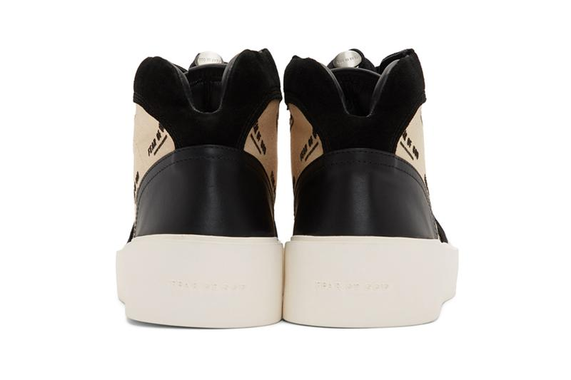 fear of god black off white strapless skate mid sneakers release mid top suede and buffed leather sneakers in black