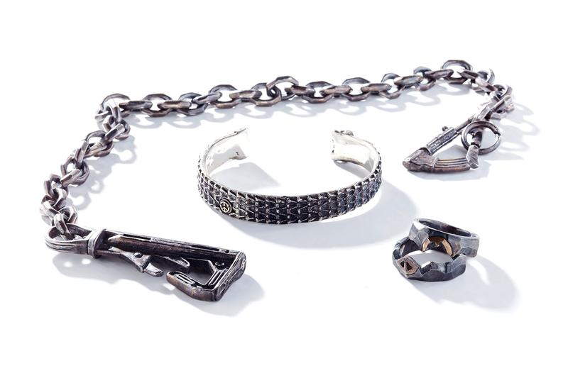 Fortune W W D Military Inspired Fall Winter 2019 Jewelry collection War is Hell Heaven Can Wait 13 Lucky Monkey ring necklace bangle peace rifle collection accessories silver bangle
