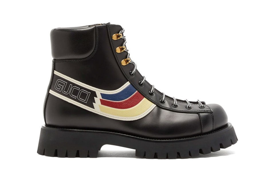 Gucci Updates the Hiking Boot With Large Logos and Multicolored Stripes