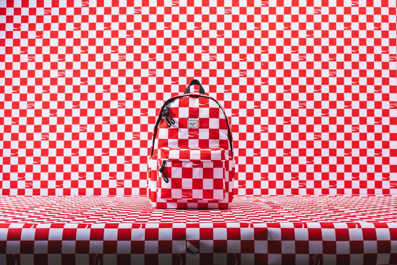 Herschel Supply Coca-Cola Second Collaboration Summer Days Classic X-Large backpack Nova Mid-Volume backpack Nineteen hip pack Have a Good Day Bucket Beach Bag Coca-Cola slogan screen print Coca-Cola woven tab and Herschel Supply's classic white woven label 100% cotton tee 100% cotton twill Ben bucket hat Coca-Cola checkerboard print