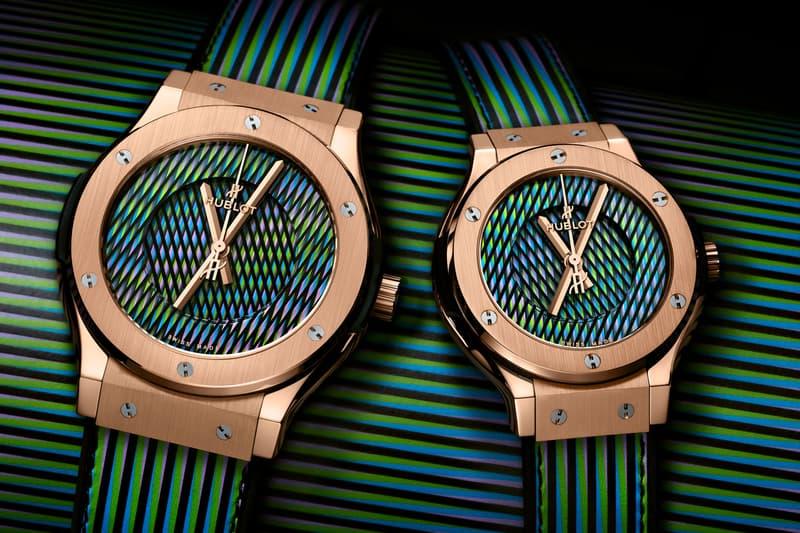Hublot Classic Fusion Carlos Cruz-Diez Info sull'orologio Art Basel Miami Beach 2019 Re Gold Cinturino in pelle nera titanio ceramica Arte cinetica