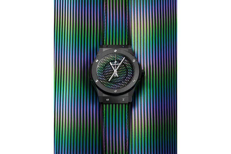 Hublot Classic Fusion Carlos Cruz-Diez Watch Info Art Basel Miami Beach 2019 King Gold Black Ceramic Titanium Leather Strap Kinetic Art