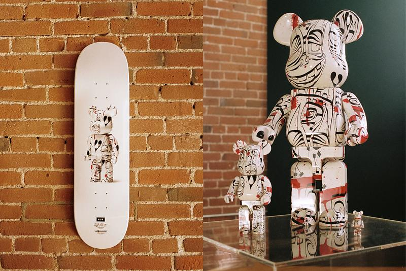 huf artist phil frost bearbrick medicome toy collaboration collection winter 2019 apparel accessories graffiti print totemic faces cotton twill worker jacket fleece tees hats socks skateboard deck