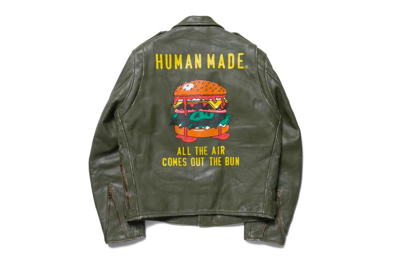 HUMAN MADE High Oz Leather Biker Jacket Nigo fall winter 2019 collection aged all the air comes out the bun made in japan weathered vintage retro gears for futuristic teenagers pharrell