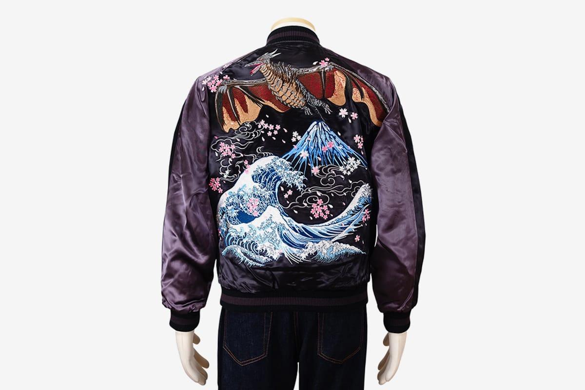 Souvenir Jacket Sukajan Japanese Pattern Embroidery The Great Wave Off Kanagawa