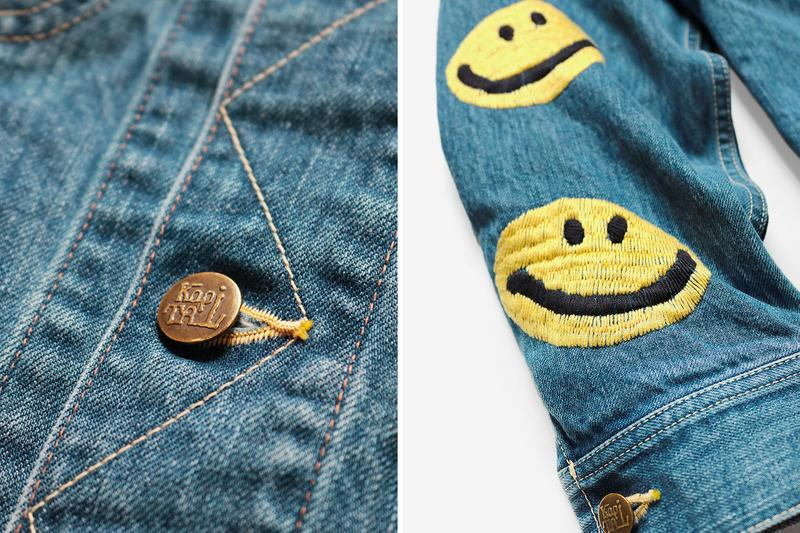 KAPITAL 14oz Denim Smile Embroidery Westerner Jacket jean indigo yellow brass buttons japanese classic retro vintage trucker americana Fall Winter 2019 Collection layers elongated