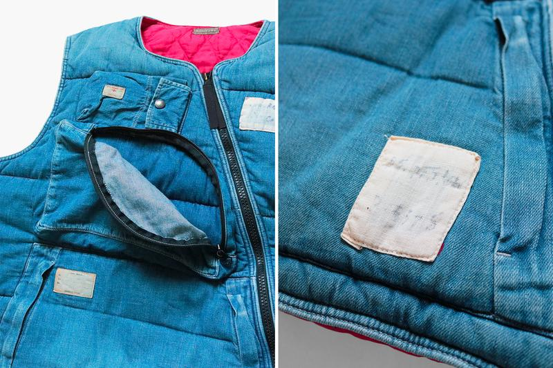 Kapital 8oz Denim Army Flight Vest Release Info indigo journey remake buy now drop details price diagonal zipper red quilted lining vintage denim upcycled