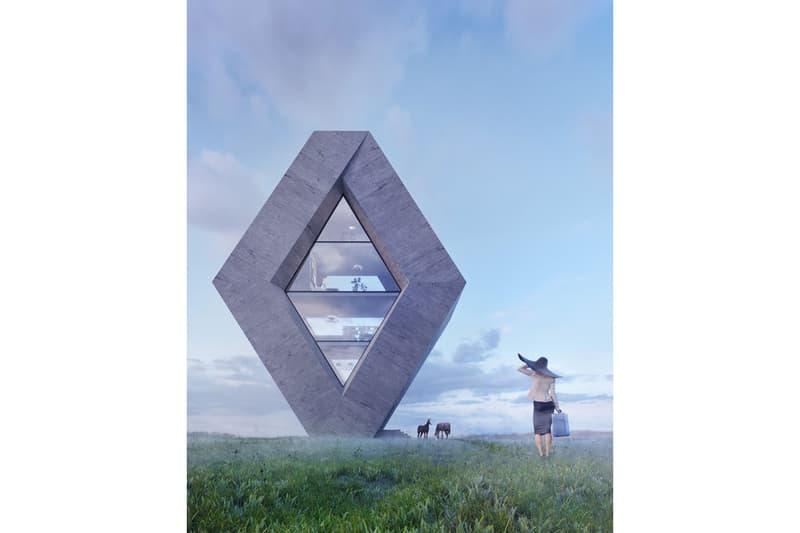 Karina Wiciak Wamhouse Studio Famous Logo House Series Concept Mitsubishi adidas Chrysler Renault Glass Concrete