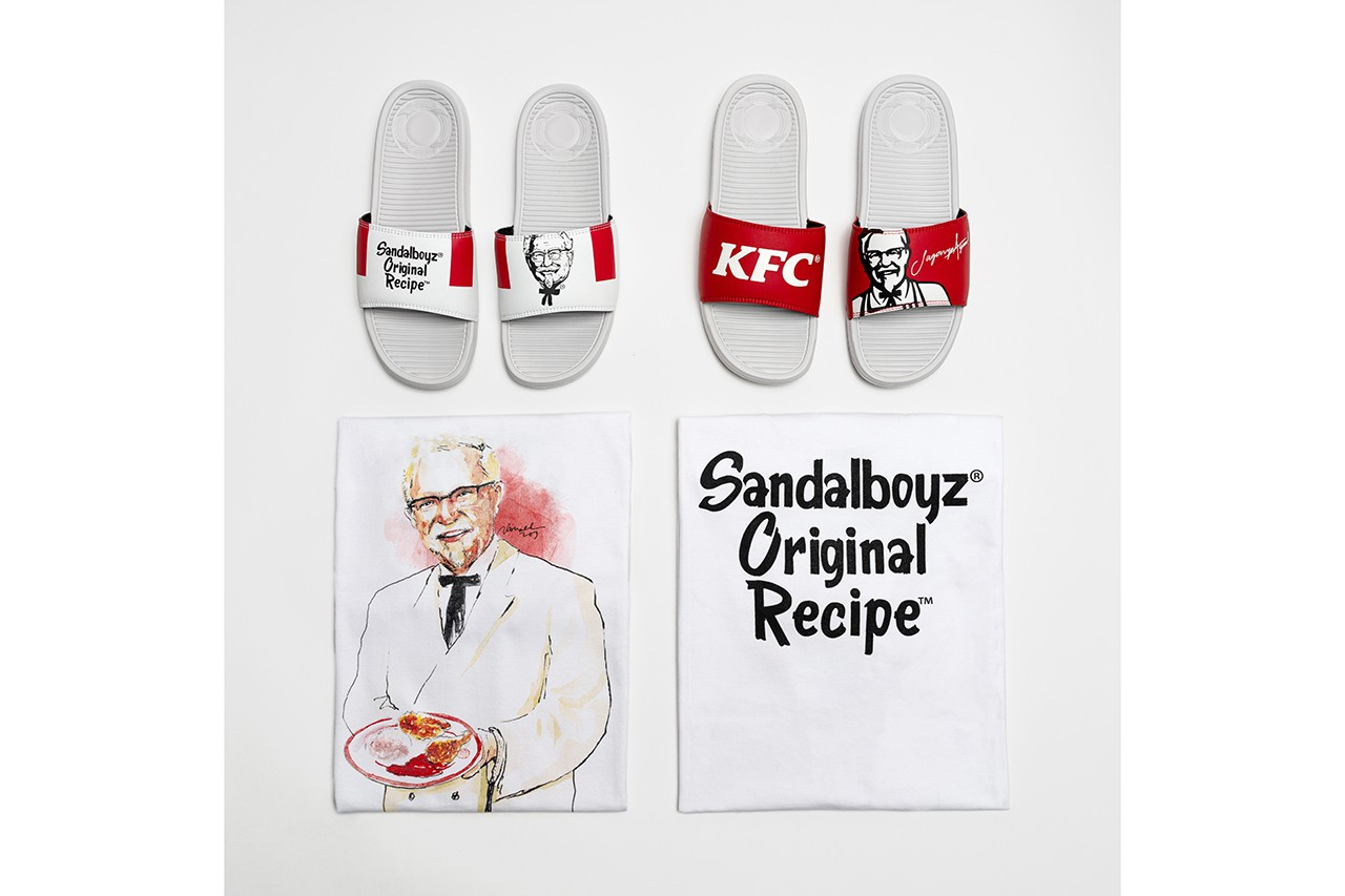 KFC x SANDALBOYZ Court Slides & Clothing Collection First Look Indonesia Capsule t-shirts hoodies shorts socks Lookbooks Colonel Sanders Fried Chicken Inspired Release information