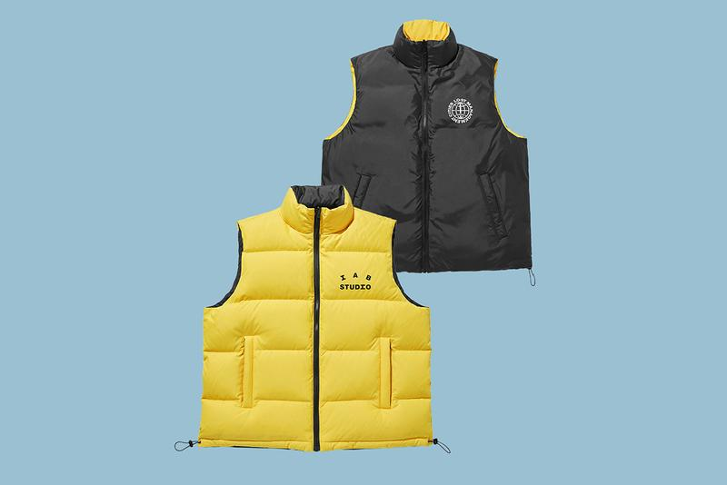 "LMC x IAB Studio Winter 2019 Collection Info ""Winter Is Just Around the Corner"" Hongdae Flagship Korea Yellow Fleece Hoodie Reversible Down Vest Black Earflap Cap Socks Mufflers Blue Pink Brown Gray"