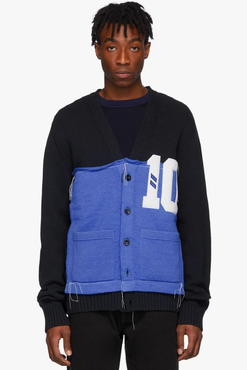 Maison Margiela Black Varsity Cardigan Release Info number nine vibes college cotton wool knit buy now ssense overstitched patchwork y-neck